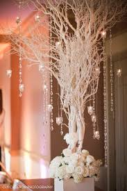 All White Tree Wedding Decor With Crystal Garlands For Winter Wonderland Theme