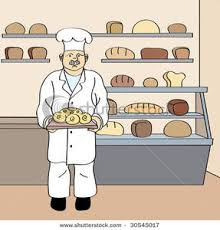 Clip Art Image Baker with Fresh Round Loaf In His Bakery