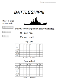 Battleship Game For English Class
