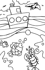 Summer Ocean Boat Coloring Pages
