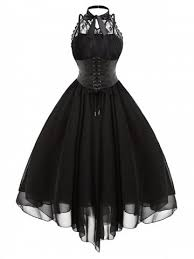 Cross Back Lace Panel Gothic Corset Dress