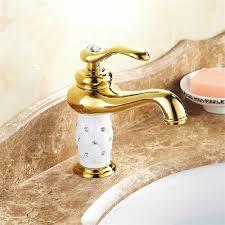 kostenloser versand messing und weiße farbe keramik badarmaturen europäischen gold badezimmer bassinwannen mischerhahn torneiras
