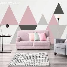 einfache grau rosa und schwarz dreieck geometrische muster wandbild tapeten für wohnzimmer haushalt wand dekor für wand wand papier