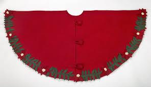 Arcadia Home Poinsettia Wreath Hand Felted Wool Tree Skirt