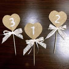 Handmade Rustic Table Numbers Wedding Decorating Lace Ribbon Cake Topper Home Party Decorations Sale Label