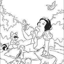 Snow White Walking With Animals And Her Friends