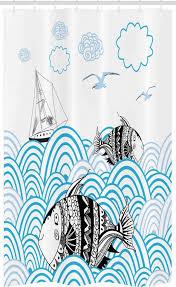 abakuhaus duschvorhang badezimmer deko set aus stoff mit haken breite 120 cm höhe 180 cm fisch sketch boot und tiere kaufen otto