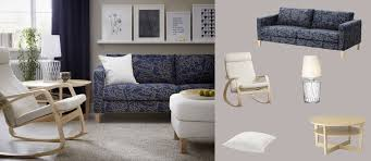 Karlstad Three Seat Sofa Bed Cover by Karlstad Three Seat Sofa With Bladåker Blue Beige Cover Poäng