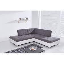 canapé d angle 200x200 java canapé d angle modulable 6 places tissu gris et simili blanc