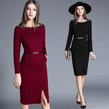 vetement de bureau ol automne paquet hanche noir bureau robe vetement femme 2018
