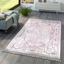 wohnzimmer teppich orient blumen rosa