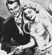 Vintage Wedding Black and White Couple Cutting the Cake Royalty Free Clip Art Picture