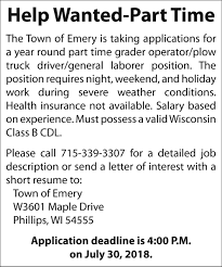Operator/Plow Truck Driver, Town Of Emery, Phillips, WI Diesel Truck Driver Traing Schools Photo Gallery Driving School Calgary Derek Browns Academy Of The End The Brig Dream Wsj Mad Area Books Best Image Kusaboshicom Big Truck Drivers Battle Against High Winds Wisc Hard Lessons That Can Be Learned From Humboldt Broncos Crash Arlington Auto Repair Dans And Video Shows On Phone Before Fatal Crash Wcco Cbs Wisconsin Drivers Ed Directory