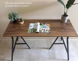 Long Desk Or Narrow Dining Table Handfinished Wood On Metal Ikea Legs CHOOSE ANY SIZE Free Shipping