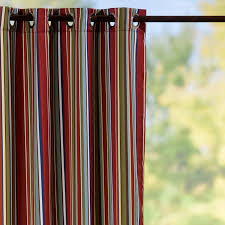 Sunbrella Curtains With Grommets by Grommet Top Semi Opaque Outdoor Curtain Panels Fiesta Red Stripe