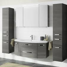details zu badezimmer set 120cm waschtisch mit unterschrank grau waschbecken 2 hochschränke