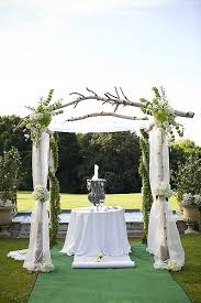 White Branches Made Into A Beautiful Arbor Add Sheer Material Flowers And It Makes Wedding