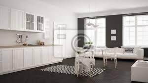 fototapete minimalistische moderne küche mit esstisch und wohnzimmer weiße
