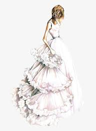 Beautiful Wedding Dress Design Illustration Creative Fashion Drawings Hand Painted Free PNG Image
