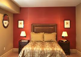 Remarkable Red Wall Painted Color Bedroom With Decorating Ideas Brown Leather Headboard