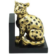 Gold Resin Leopard Bookend, 5.7