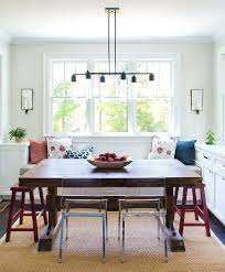 Window Seat Dining Table Built In Bench With Trestle Bay