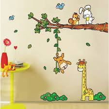 Animal Tree Wall Art For Kids Bedroom Cartoon Renovator Cute Children Removable Stickers Vintage Vinyl Mirror