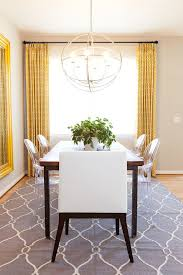 Dining Rooms Drapes And Rug Add Yellow And Gray To The Neutral