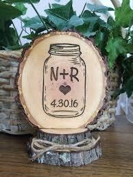 Mason Jar Wedding Cake Topper Personalized Rustic