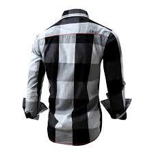 2018 The New European Mens Shirt Cotton Plaid Denim Collar