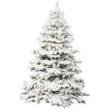 Flocked Alaskan 75 White Artificial Christmas Tree With 900 Dura Lit Clear Lights Stand