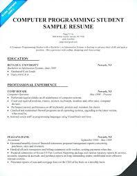 Sample Computer Science Resume Help Programming Student