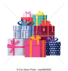 Pile Colorful Wrapped Gift Boxes Vector