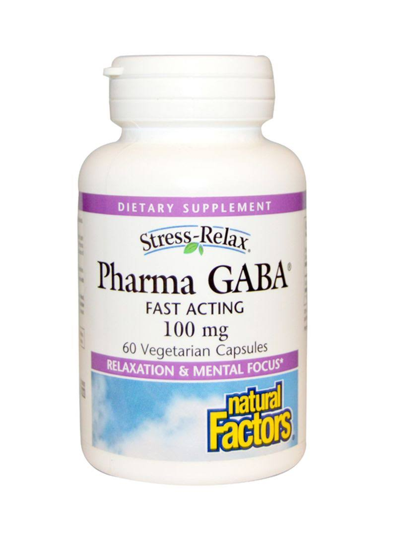 Natural Factors Stress Relax Pharma Gaba Relaxation Mental Focus Supplement - 60 Vegetarian Capsules