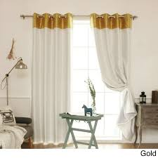 Gold And White Blackout Curtains by Aurora Home Top Border Faux Silk Blackout Curtain Panel 52 X 84