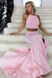 pink two pieces simple slim long mermaid prom dresses diy dress