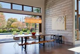 Modern Dining Room With White Walls Wooden Table Sets Bench And Chairs