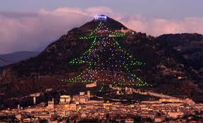 Worlds Largest Christmas Tree In Gubbio Lit Up From Space