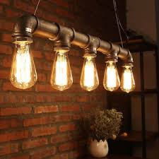 industrial vintage chandeliers water pipe bulb pendant light pub
