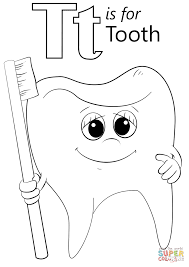 Letter T Is For Tooth Coloring Page Printable Pages Click The Dental Preschool Large Size