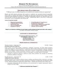 Sample Resume Electrical Technician Electrician Maintenance Template Supervisor