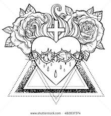 Sacred Heart Of Jesus Vector Illustration Isolated On White Over Roses Floral And Geometric Background
