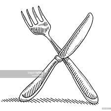 hd cutlery fork and knife drawing vector design