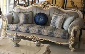 casa padrino luxus barock sofa grau blau weiß gold 222 x 82 x h 120 cm prunkvolles massivholz wohnzimmer sofa mit elegantem muster und