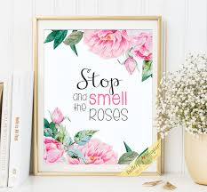 Stop And Smell The Roses Printable Framed Quotes For Home Decor Wall Art Decoration Sayings Shabby Chic Flower Shop