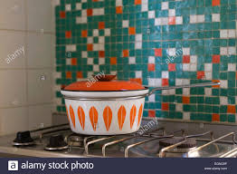 60s Style Pot On A Gas Oven In Kitchen