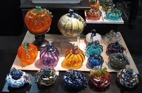 Blown Glass Pumpkins Boston by Luke Adams Hand Crafted Glass Hearts Twists Crosses