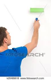 Pictures Of Young Man Painting Wall In Green Back View Guy