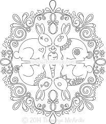 Nature Mandala Bunnies Coloring Page By Thaneeya