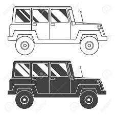 Adventure Traveler Truck Outline And Thin Line Icon Suv Jeep For Safari Extreme Travel